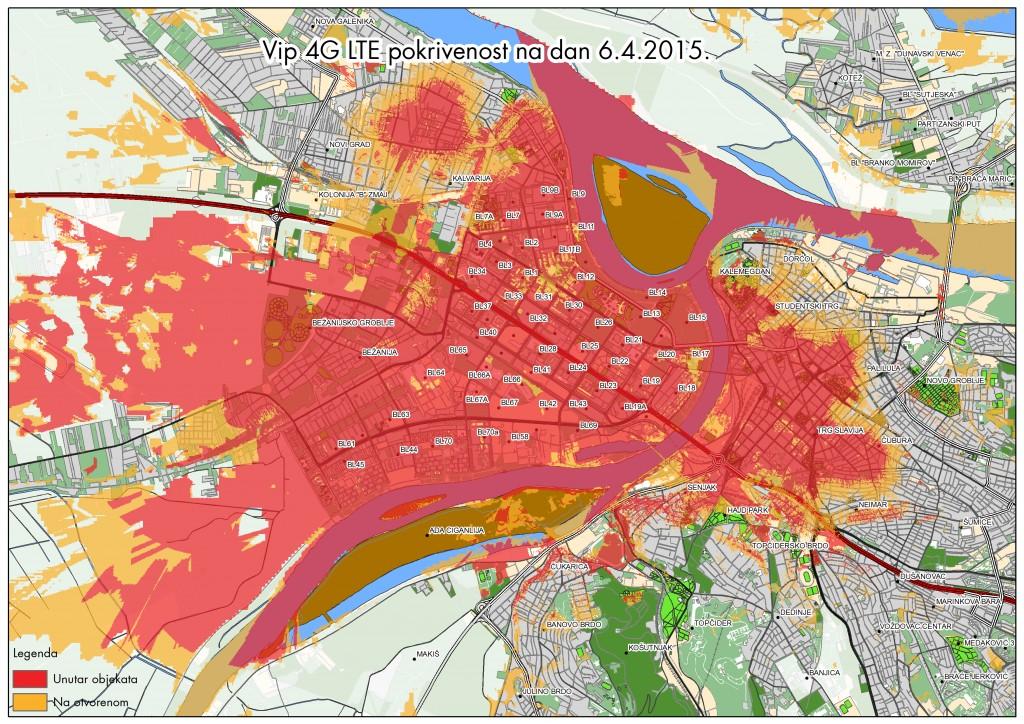 Vip 4G LTE,  Beograd, pokrivenost, 6.4.